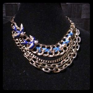 Betsey Johnson Blue Bird Enamel Lucite Necklace